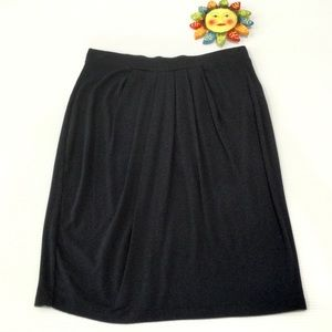 DKNY Soft Knit Pull On Skirt Black Sz P Petite